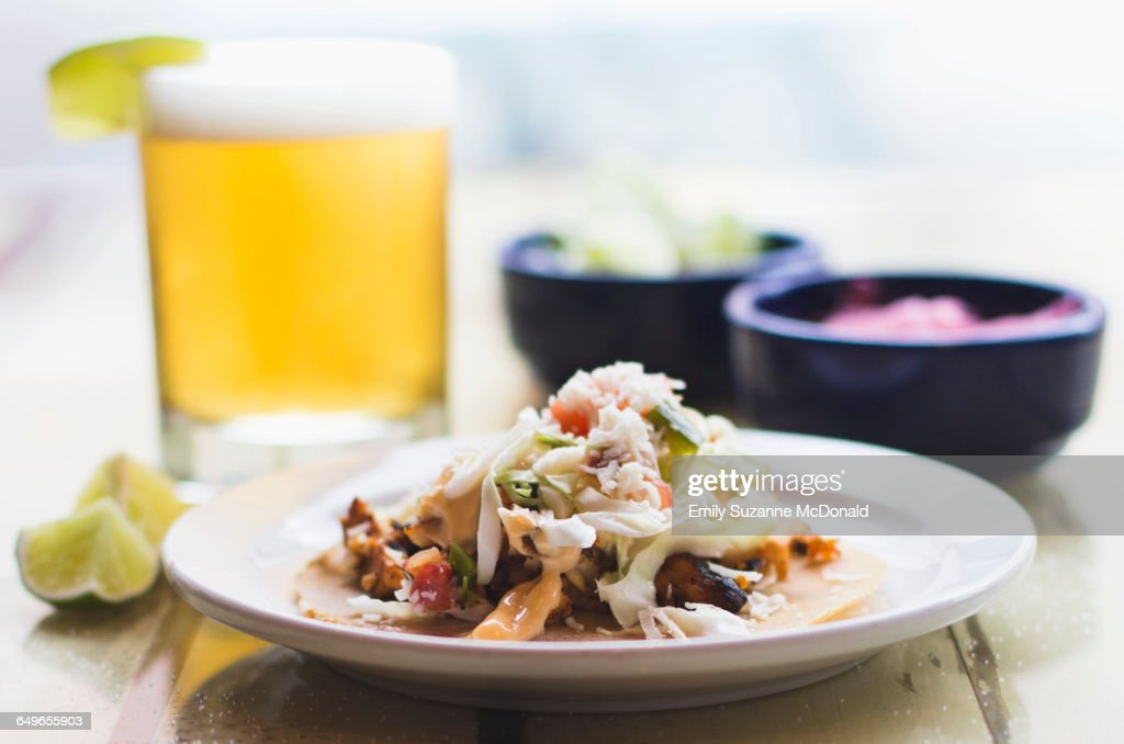 Plate of tacos with beer : Stock Photo