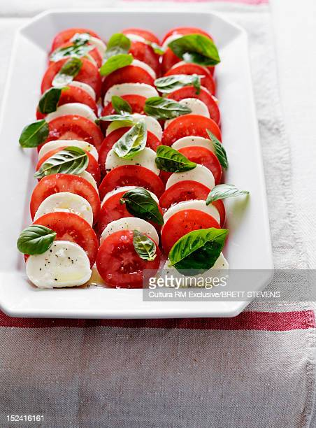 Plate of tomatoes, cheese and herbs