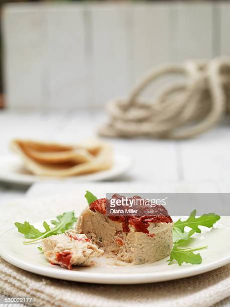 plate of tuna terrine and roasted red peppers with pita bread and rocket garnish - roasted pepper stock photos and pictures