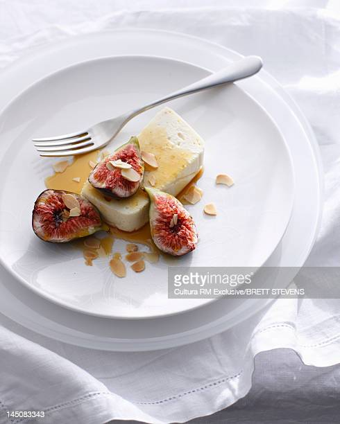 Plate of vanilla baked ricotta with figs