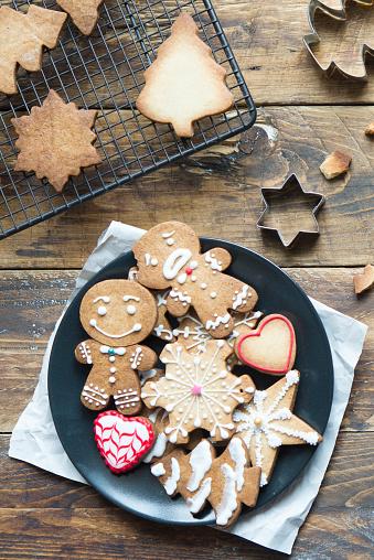 Plate of various Christmas cookies - gettyimageskorea