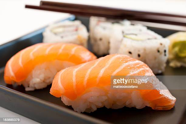 Plate of various types of sushi
