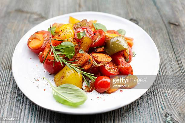 plate of vegan antipasti - antipasto stock pictures, royalty-free photos & images