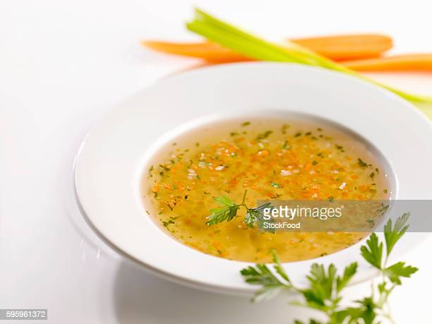 A plate of vegetable broth