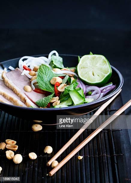 Plate of Vietnamese duck salad