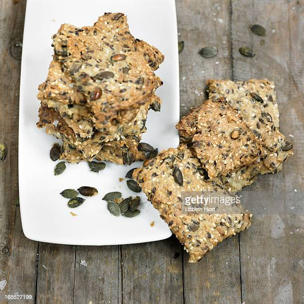 Plate of whole grain crackers