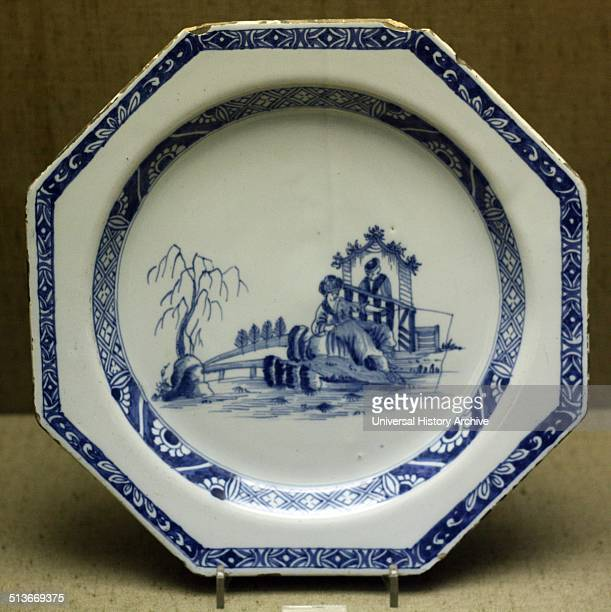Plate probably Liverpool The fishing scene is copied from an engraving by PC Canot after Jean Pillement who was famous for his chinoiserie designs It...