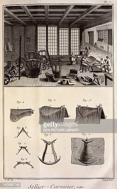 Plate showing a saddle and coach maker workshop and saddles Engraving from Denis Diderot Jean Baptiste Le Rond d'Alembert L'Encyclopédie 17511757...