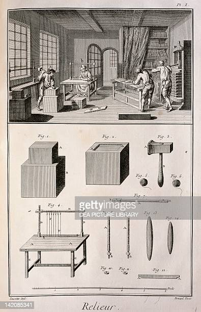 Plate showing bookbinder workshop and tools Engraving from Denis Diderot Jean Baptiste Le Rond d'Alembert L'Encyclopedie 17511757 Entitled Relieur