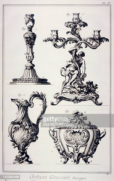 Plate showing candlestick candelabrum ampulla or bishop's cruet and tureen Engraving from Denis Diderot Jean Baptiste Le Rond d'Alembert...