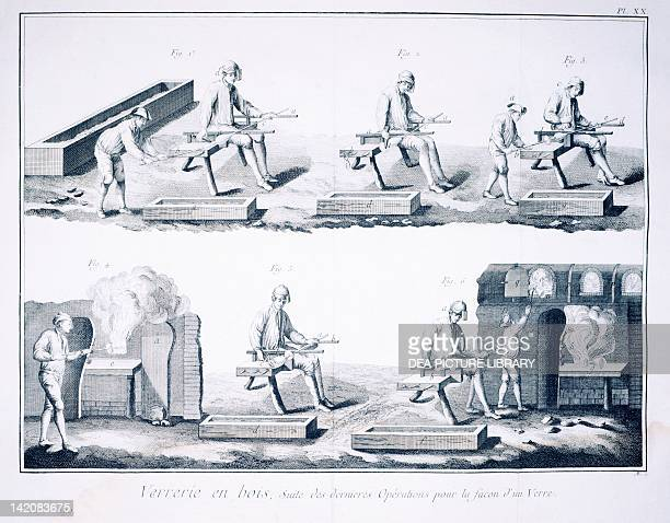 Plate showing last stages in the creation of glass Engraving from Denis Diderot Jean Baptiste Le Rond d'Alembert L'Encyclopedie 17511757 Entitled...