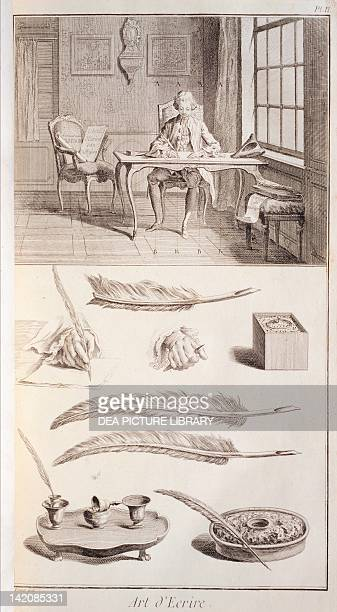 Plate showing man at writing desk quills and inkwells Engraving from Denis Diderot Jean Baptiste Le Rond d'Alembert L'Encyclopedie 17511757 Entitled...