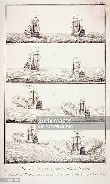Plate showing nautical signals of correspondence Engraving from Denis Diderot Jean Baptiste Le Rond d'Alembert L'Encyclopedie 17511757 Entitled Marine