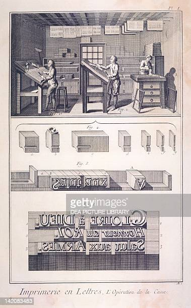 Plate showing printing workshop operation of the case and composing stick Engraving from Denis Diderot Jean Baptiste Le Rond d'Alembert...