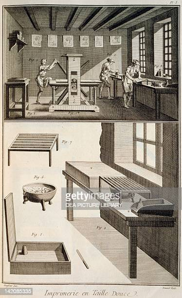 Plate showing rolling press printing and tools Engraving from Denis Diderot Jean Baptiste Le Rond d'Alembert L'Encyclopedie 17511757 Entitled...