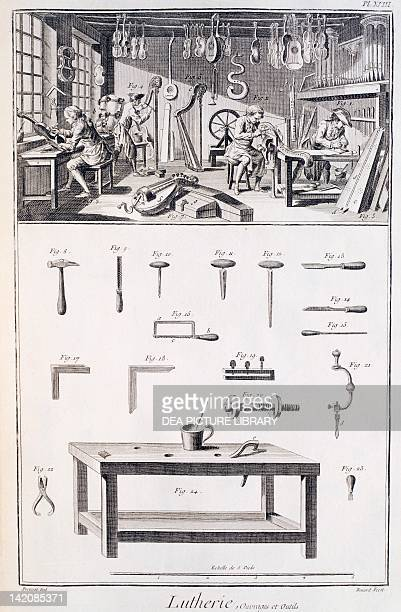 Plate showing the fabrication of music instruments workshop and tools Engraving from Denis Diderot Jean Baptiste Le Rond d'Alembert L'Encyclopedie...