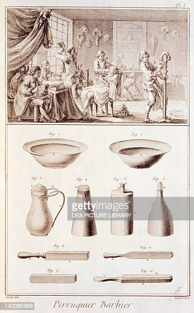 Plate showing wigmaker and barber workshop and tools Engraving from Denis Diderot Jean Baptiste Le Rond d'Alembert L'Encyclopedie 17511757 Entitled...