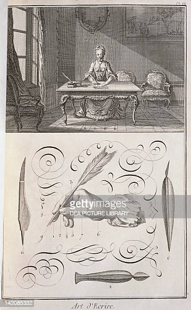 Plate showing woman at writing desk writing hand position and quills Engraving from Denis Diderot Jean Baptiste Le Rond d'Alembert L'Encyclopedie...