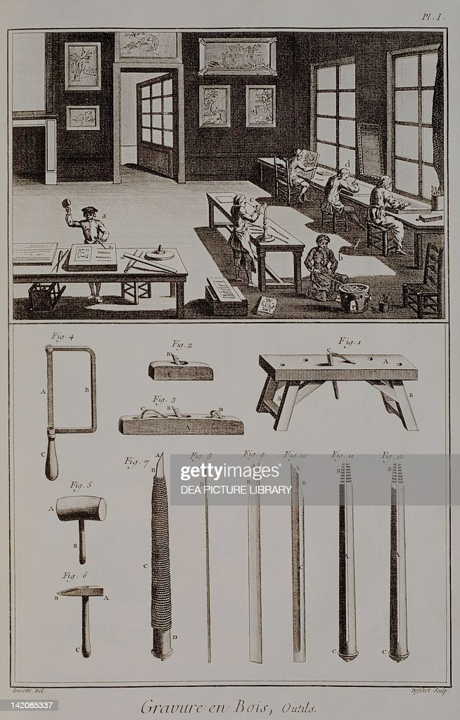 Plate showing wood engraving and tools : News Photo