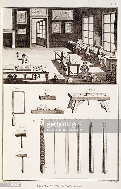 Plate showing wood engraving and tools Engraving from Denis Diderot Jean Baptiste Le Rond d'Alembert L'Encyclopedie 17511757 Entitled Gravure en Bois