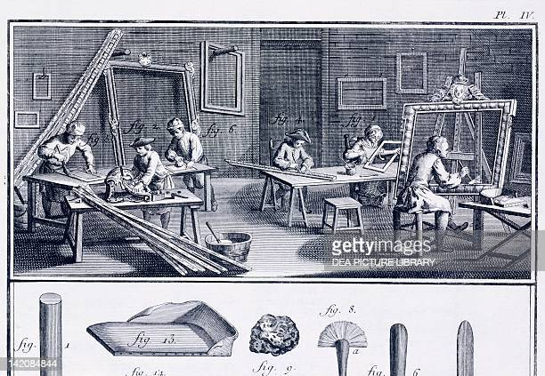 Plate showing wood workshop and tools Engraving from Denis Diderot Jean Baptiste Le Rond d'Alembert L'Encyclopedie 17511757
