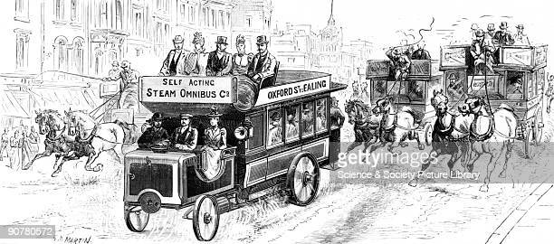 Plate taken from the �Illustrated London News� showing a steam omnibus operating on the Oxford Street to Ealing service followed along a street by...