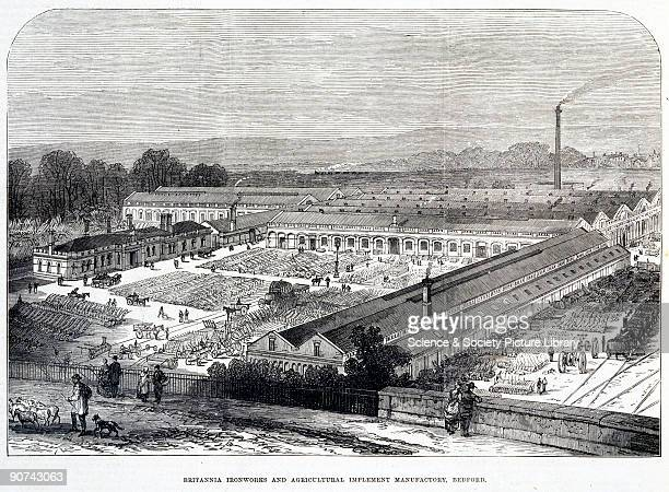 Plate taken from the �Illustrated London News� showing the Britannia Ironworks Bedford in the distance and a large factory manufacturing agricultural...