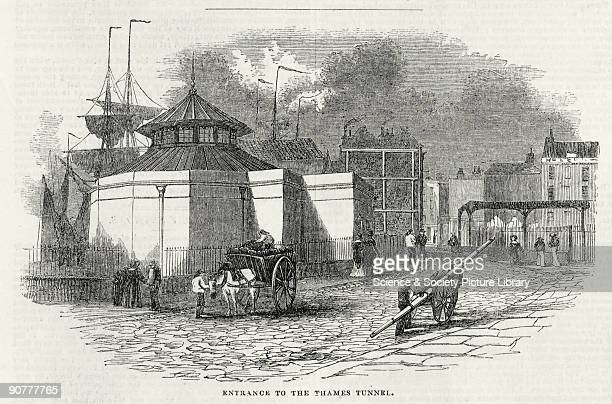 Plate taken from the �Illustrated London News� showing the Rotherhithe entrance of the Thames Tunnel shortly after completion but before the official...