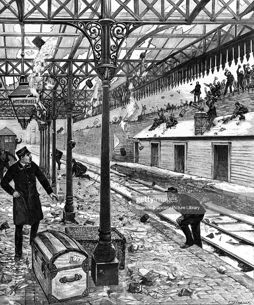 Railway strike, mob wrecks Motherwell Station, Lanarkshire, 1891. : News Photo
