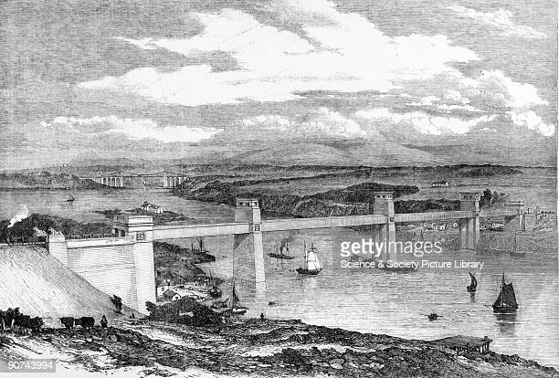 Plate taken from the 'Illustrated London News' The Britannia Tubular Bridge spans the Menai Straits connecting Anglesey to Wales The idea of a single...
