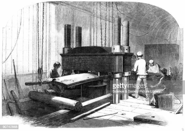Plate taken from the 'Illustrated London News' The idea of using hydraulic pressure to produce �mild steel� was begun with a paper read in 1856 by...