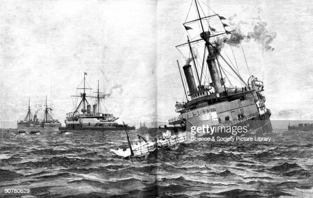 Plate taken from the �Illustrated London News� Vice Admiral Sir George Tryon Commander of the British Mediterranean Fleet in 1893 had instructed the...