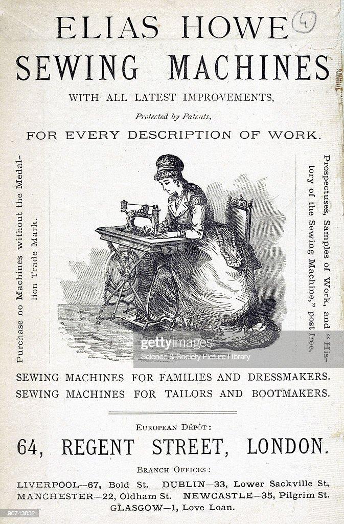 Elias Howe sewing machine, 1871. : News Photo