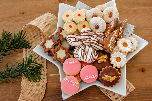 Plate with a big selection of Christmas cookies - gettyimageskorea