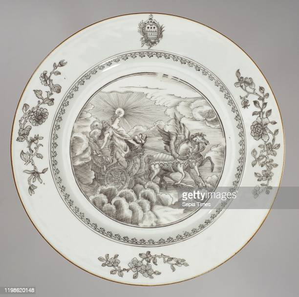 Plate with an image of Aurora and the coat of arms of the Humbertson family Porcelain plate painted on the glaze in black On the shelf a...