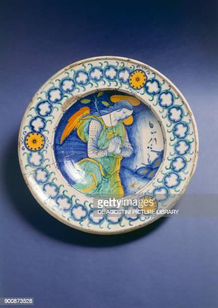 Plate with announcing angel ceramic Deruta manufacture Umbria region Italy 16th century