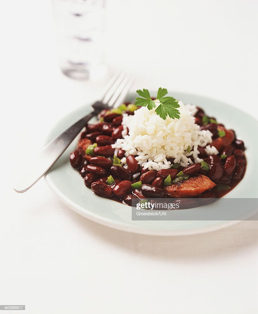 Plate With Chorizo, Red Kidney Beans and Rice : Stock Photo