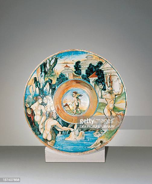 Plate with Diana and Actaeon in Ovid's Metamorphoses by Giorgio Andreoli ceramic Italy 16th century London Victoria And Albert Museum