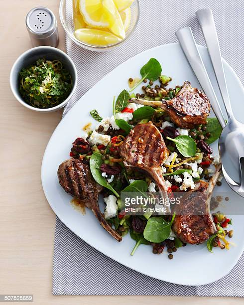 Plate with lamb cutlets and mint gremolata