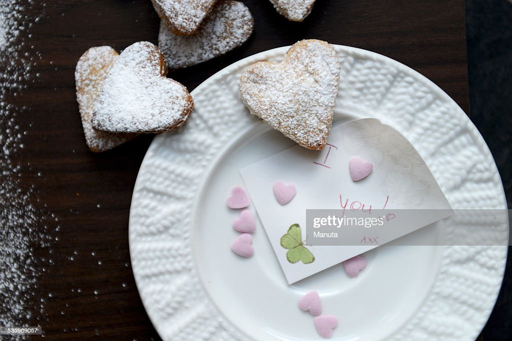 Plate with Note I Love You and Heart Shaped Cookies : Stock Photo