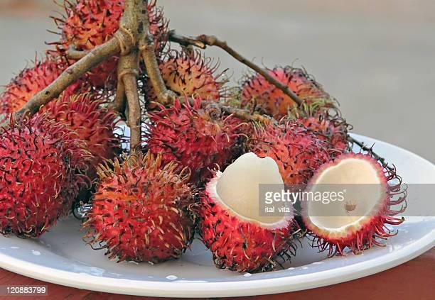 Plate with rambutan fruit