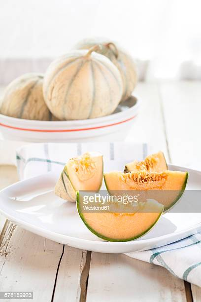 Plate with sliced Charentais melon
