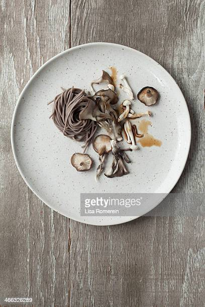 Plate with soba noodles, roasted mushrooms & ponsu