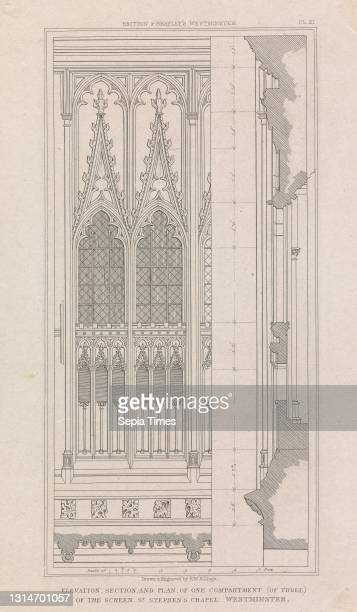 Elevation, Section and Plan, of One Compartment of the Screen, St. Stephen's Chapel, Westminster, Print made by Robert William Billings, 1813–1874,...