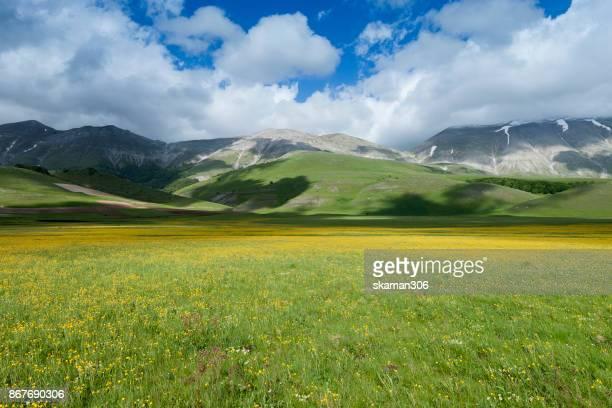 plateau of campo imperatore - gran sasso, abruzzo, italy - altopiano foto e immagini stock