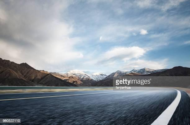 plateau road to snow mountains,Tibet