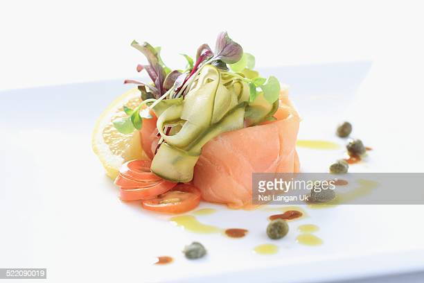 plated smoked salmon appetizer