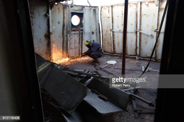 Platers cutting up a decommissioned ship the Lismore in Leith's Imperial Dry Dock on January 25 2018 in Leith Scotland The Scottish Government today...