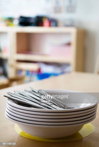 Plates in a pile