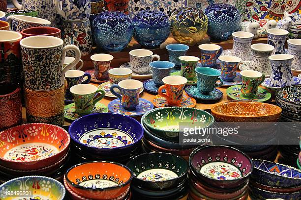 Plates, mugs and cups in Istanbul.